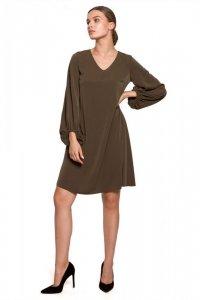 S273 Sukienka z szerokimi rękawami i dekoltem - khaki