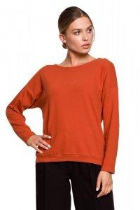 S274 Sweterek z dekoltem wykończonym koronką - rudy
