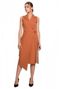 S275 Sukienka żakietowa z asymetrycznym dołem - ruda
