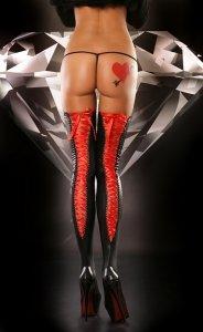 1* LACING STOCKINGS RED pończochy PROMO