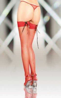 Stockings 5539 - red pończochy kabaretki ze szwem