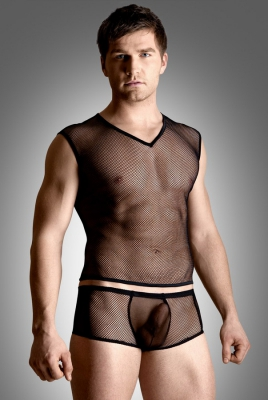 Net set - shirt and thong - black 4601