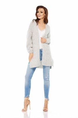 LS211 Prosty, ciepły sweter narzutka jasnoszary