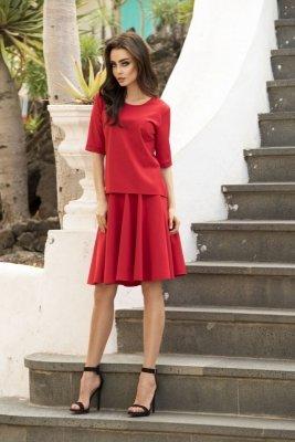 Rozkloszowana sukienka L237 czerwony