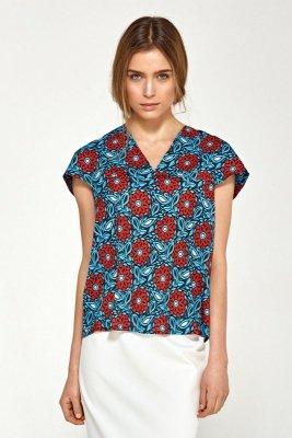 Bluzka z delikatnym dekoltem V - kwiaty - B90