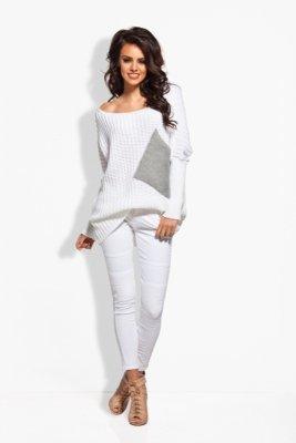 LS166 Sweter oversize z kieszenią biały-jasnoszary