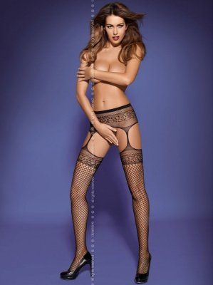 1 Garter stockings S502 czarne