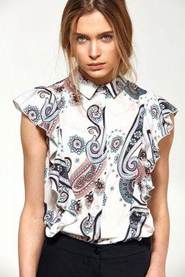 Bluzka z krótkim rękawem i falbanami  - wzór - B88