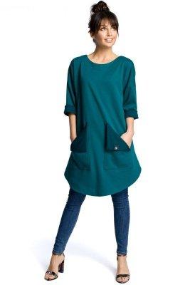 B064 Sukienka tunika zielona