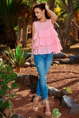 Modna bluzka z potrójną falbaną L249 pudrowy róż
