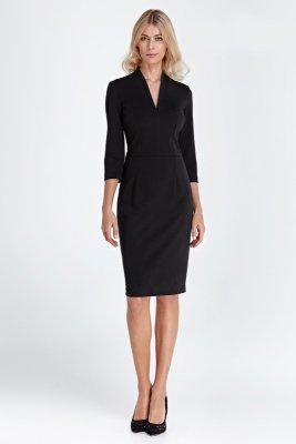 Sukienka z dekoltem w serek - czarny - CS01