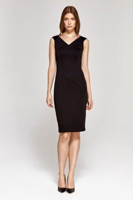 Sukienka z dekoltem w serek - czarny - CS08