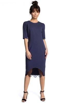 B078 Sukienka z koronką niebieska