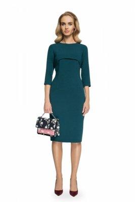 S075 Sukienka z bolerkiem - zielona