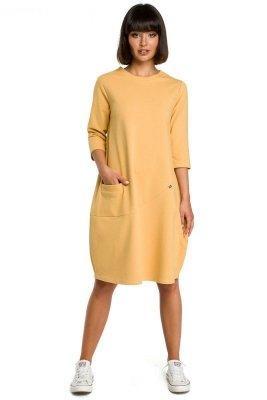 B083 Sukienka bombka z kieszenią żółta
