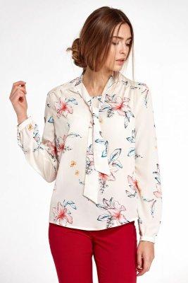 Bluzka z fontaziem i długim rękawem - kwiaty/ecru - B94