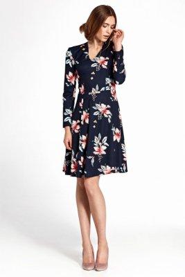 Sukienka z zakładkami - kwiaty/granat - S109
