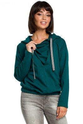B088 Bluza z kapturem z zakładką z przodu - zielona