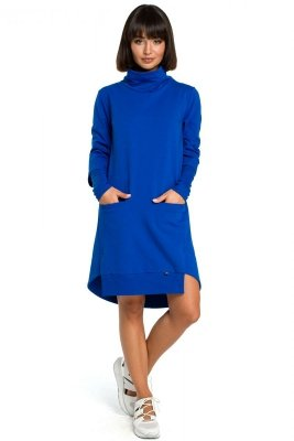 B089 Sukienka z golfem - chabrowa