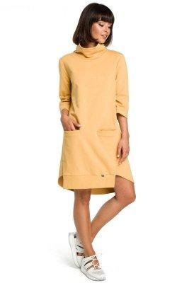 B089 Sukienka z golfem - żółta