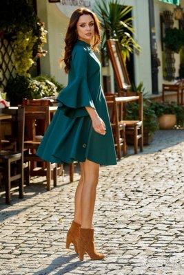 Zjawiskowa sukienka z rozszerzanymi rękawami L277 ciemna zieleń