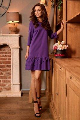 Klasyczna sukienka z falbanką L272 fiolet