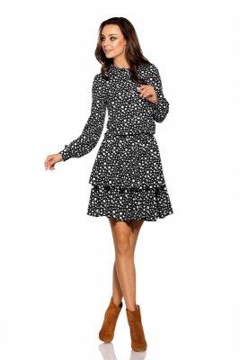 Klasyczna koszulowa sukienka L281 kropki