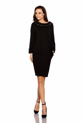 Sukienka z plecionką L290 czarny