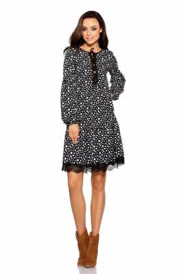 Trapezowa sukienka z nadrukami L288 kropki
