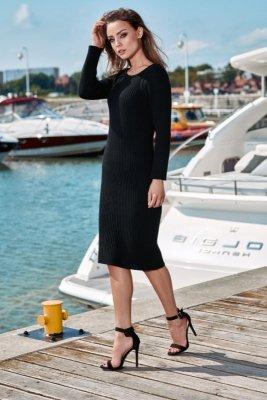 Kobieca ołówkowa sweterkowa sukienka LS224 czarny