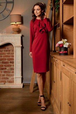 Sukienka biznesowa z żabotem L270 bordo