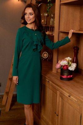 Sukienka biznesowa z żabotem L270 ciemna zieleń