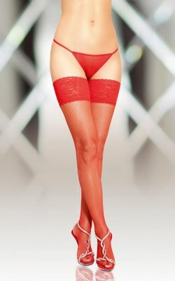 1 Stockings 5537 - red PROMO pończochy do paska
