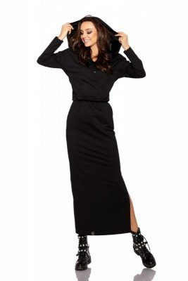 Dresowa sukienka maxi z kapturem L287 czarny