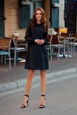 Elegancka sukienka z szyfonowymi rękawkami L265 czarny