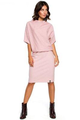 B097 Sukienka z luźną górą i wąskim dołem - puder