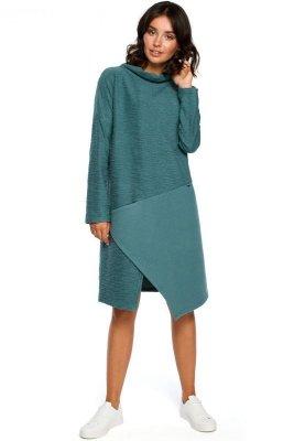 B098 Sukienka z asymetrycznym przeszyciem z przodu - turkus