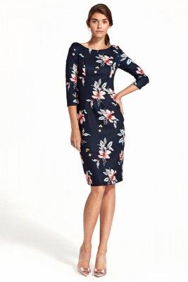 Sukienka z delikatnym wycięciem na plecach - kwiaty/granat - S106