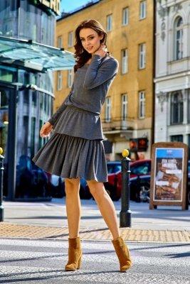 Casualowa sukienka z podwójną falbanką  L283 grafit