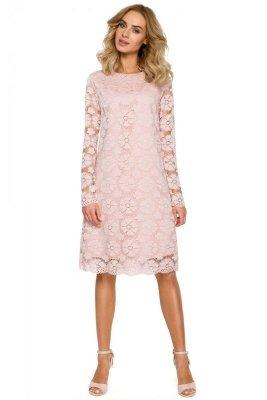 M406 Koronkowa sukienka trapez - różowa
