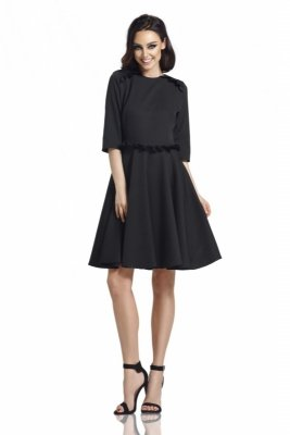 Kobieca sukienka z falbankami L291 czarny