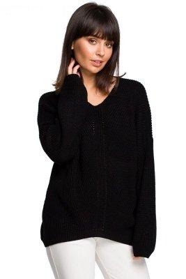 BK026 Sweter asymetryczny - czarny