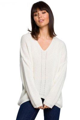 BK026 Sweter asymetryczny - ecru