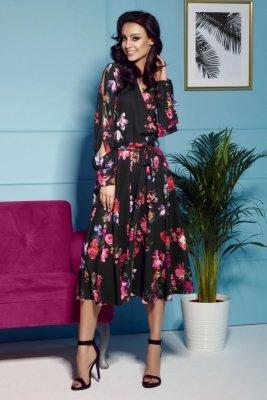 Sukienka z kopertowym dekoltem midi L302 czarny