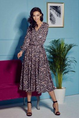 Sukienka z kopertowym dekoltem midi L302 panterka