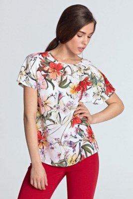 Bluzka z dekoltem w łódkę - kwiaty/ecru - B98
