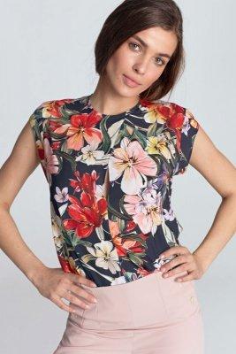 Bluzka z subtelnym pęknięciem bez rękawów - kwiaty/granat - B97