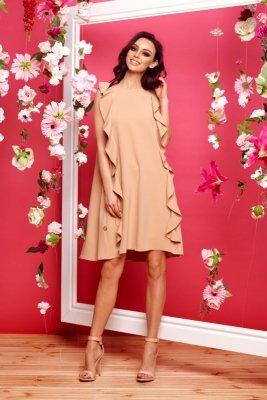 Sukienka bez rękawów z falbanami L298 ciepły beż