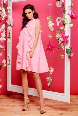 Sukienka bez rękawów z falbanami L298 pudrowy róż