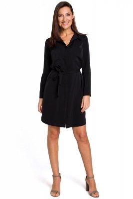S145 Sukienka koszulowa z kieszeniami i paskiem - czarna